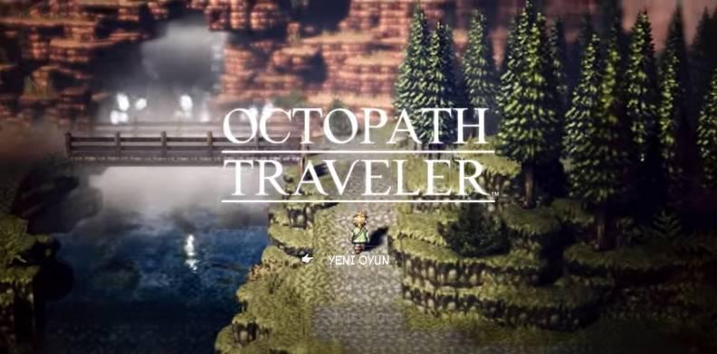 Octopath traveler türkçe yama indirdikten sonra oyunun ana menüsü türkçeleşir